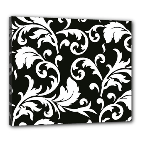 Vector Classicaltr Aditional Black And White Floral Patterns Canvas 24  X 20