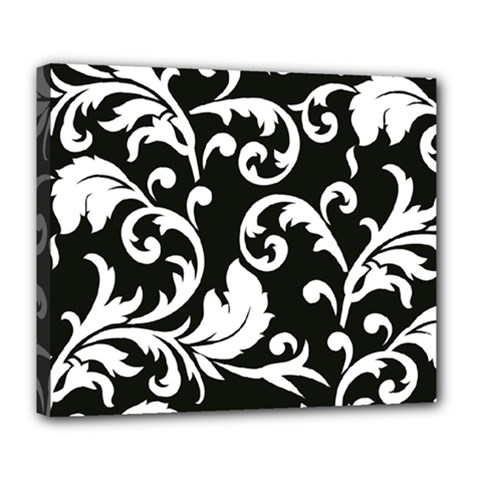 Vector Classicaltr Aditional Black And White Floral Patterns Deluxe Canvas 24  X 20