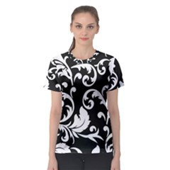 Vector Classicaltr Aditional Black And White Floral Patterns Women s Sport Mesh Tee