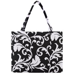 Vector Classicaltr Aditional Black And White Floral Patterns Mini Tote Bag