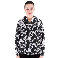 Vector Classicaltr Aditional Black And White Floral Patterns Women s Zipper Hoodie