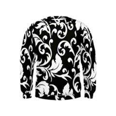 Vector Classicaltr Aditional Black And White Floral Patterns Kids  Sweatshirt