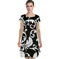 Vector Classicaltr Aditional Black And White Floral Patterns Cap Sleeve Nightdress