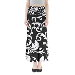 Vector Classicaltr Aditional Black And White Floral Patterns Full Length Maxi Skirt