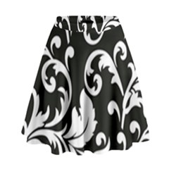 Vector Classicaltr Aditional Black And White Floral Patterns High Waist Skirt