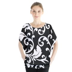Vector Classicaltr Aditional Black And White Floral Patterns Blouse