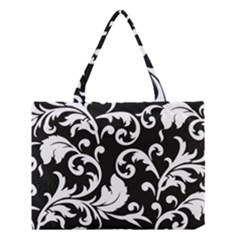Vector Classicaltr Aditional Black And White Floral Patterns Medium Tote Bag