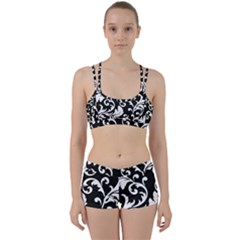 Vector Classicaltr Aditional Black And White Floral Patterns Women s Sports Set