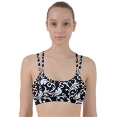 Vector Classicaltr Aditional Black And White Floral Patterns Line Them Up Sports Bra