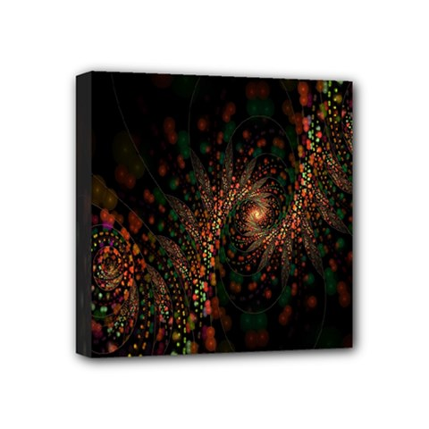 Multicolor Fractals Digital Art Design Mini Canvas 4  X 4