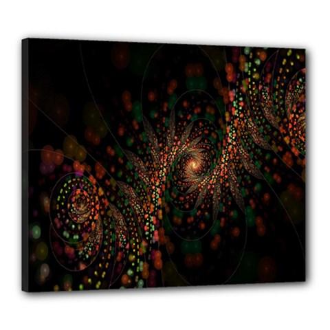 Multicolor Fractals Digital Art Design Canvas 24  X 20