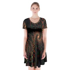 Multicolor Fractals Digital Art Design Short Sleeve V Neck Flare Dress