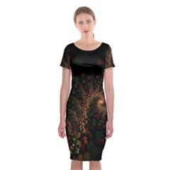 Multicolor Fractals Digital Art Design Classic Short Sleeve Midi Dress