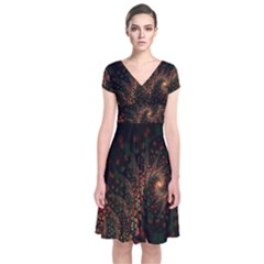 Multicolor Fractals Digital Art Design Short Sleeve Front Wrap Dress