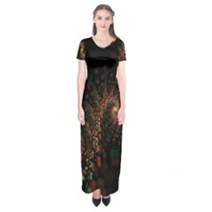 Multicolor Fractals Digital Art Design Short Sleeve Maxi Dress