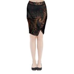 Multicolor Fractals Digital Art Design Midi Wrap Pencil Skirt