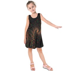 Multicolor Fractals Digital Art Design Kids  Sleeveless Dress