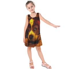 Cute 3d Dog Kids  Sleeveless Dress