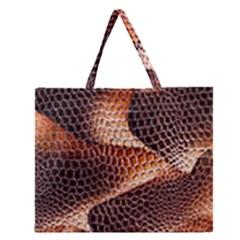 Snake Python Skin Pattern Zipper Large Tote Bag
