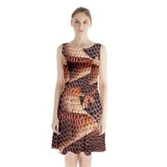 Snake Python Skin Pattern Sleeveless Waist Tie Chiffon Dress