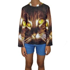 Cat Face Kids  Long Sleeve Swimwear