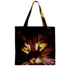 Cat Face Zipper Grocery Tote Bag