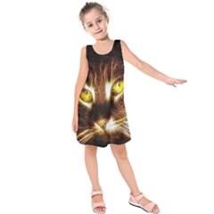 Cat Face Kids  Sleeveless Dress