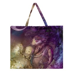 Cartoons Video Games Multicolor Zipper Large Tote Bag