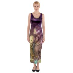 Cartoons Video Games Multicolor Fitted Maxi Dress