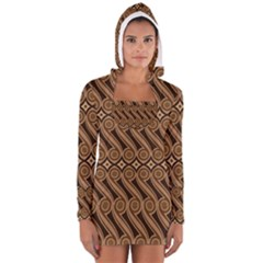 Batik The Traditional Fabric Long Sleeve Hooded T Shirt