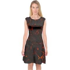 Volcanic Textures Capsleeve Midi Dress