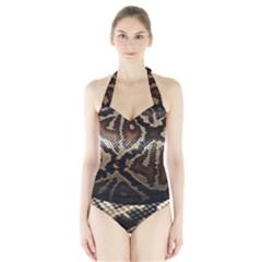Snake Skin Olay Halter Swimsuit