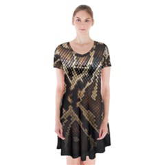 Snake Skin Olay Short Sleeve V Neck Flare Dress