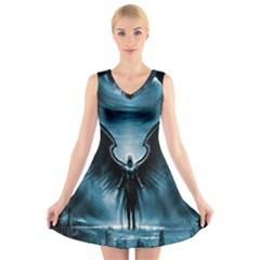 Rising Angel Fantasy V Neck Sleeveless Skater Dress