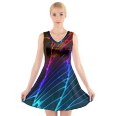 Cracked Out Broken Glass V Neck Sleeveless Skater Dress