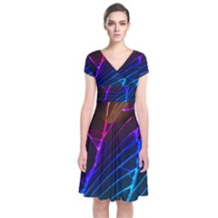 Cracked Out Broken Glass Short Sleeve Front Wrap Dress