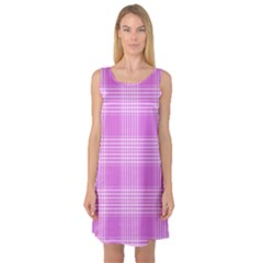 Seamless Tartan Pattern Sleeveless Satin Nightdress