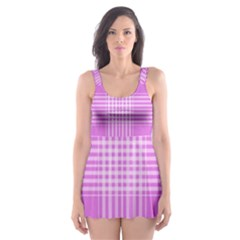 Seamless Tartan Pattern Skater Dress Swimsuit