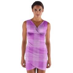 Seamless Tartan Pattern Wrap Front Bodycon Dress