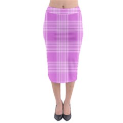 Seamless Tartan Pattern Midi Pencil Skirt