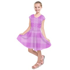 Seamless Tartan Pattern Kids  Short Sleeve Dress