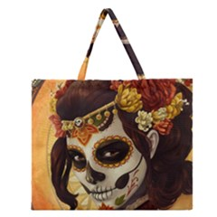 Fantasy Girl Art Zipper Large Tote Bag