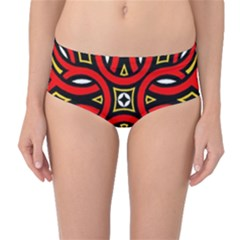 Traditional Art Pattern Mid Waist Bikini Bottoms