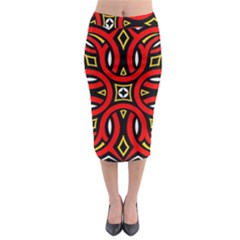 Traditional Art Pattern Midi Pencil Skirt