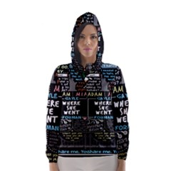 Book Quote Collage Hooded Wind Breaker (women)