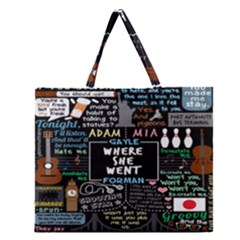 Book Quote Collage Zipper Large Tote Bag