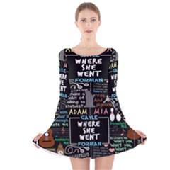 Book Quote Collage Long Sleeve Velvet Skater Dress
