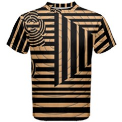 Wooden Pause Play Paws Abstract Oparton Line Roulette Spin Men s Cotton Tee