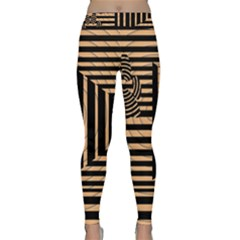 Wooden Pause Play Paws Abstract Oparton Line Roulette Spin Classic Yoga Leggings