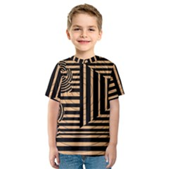 Wooden Pause Play Paws Abstract Oparton Line Roulette Spin Kids  Sport Mesh Tee